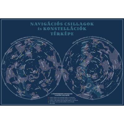 Jachtnavigátor - Navigációs csillagok és konstellációk térképe (hajtogatva)